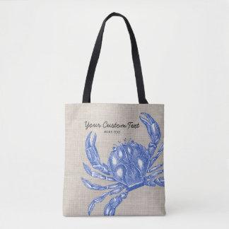 Cool Vintage Nautical Blue Crab Custom Beach Tote Bag