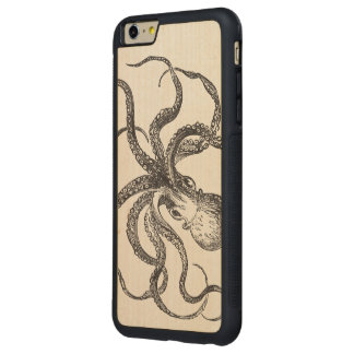 Cool Vintage Octopus Sea Animal Ocean Life Aquatic Carved Maple iPhone 6 Plus Bumper Case