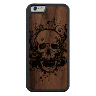 Cool Vintage Pencil Sketch Skull Swirl Flowers Carved Walnut iPhone 6 Bumper Case