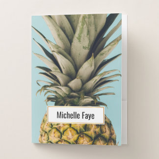 Cool Vintage pineapple closeup photography summer Pocket Folder