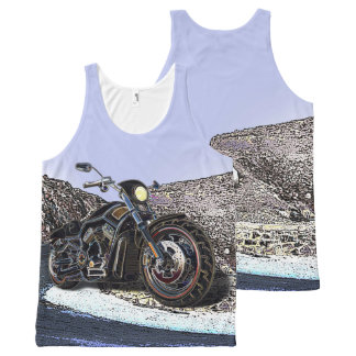 Cool Vintage Road Glowing Motorcycle Chopper All-Over-Print Tank Top