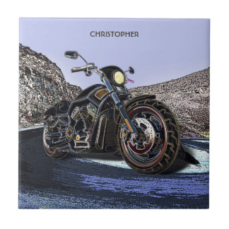 Cool Vintage Road Glowing Motorcycle Chopper Ceramic Tile