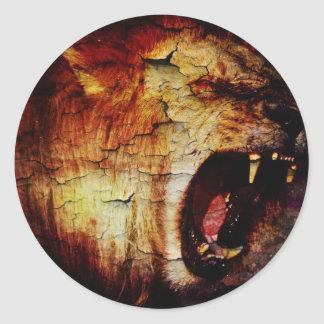 cool vintage Roaming Lion Leo horoscope astrology Classic Round Sticker