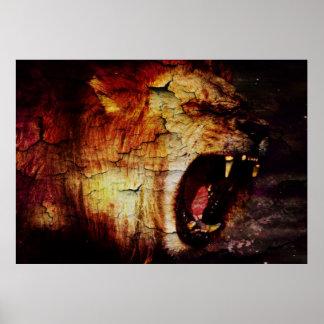 cool vintage Roaming Lion Leo horoscope astrology Poster