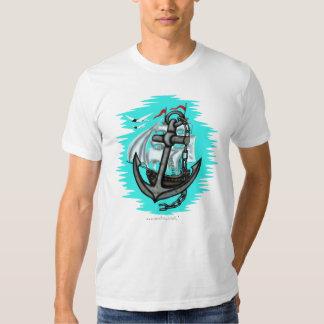 Cool vintage sailing ship and anchor t-shirt