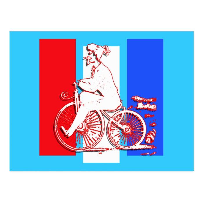 Cool Vintage Silhouette Bike Rider Postcard