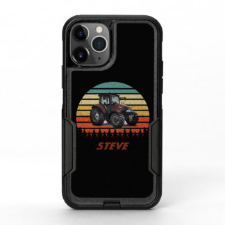 Cool Vintage Sunset Rustic Tractor Farming Name OtterBox Commuter iPhone 11 Pro Case