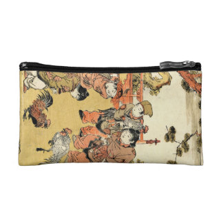 Cool vintage ukiyo-e japanese children and rooster cosmetic bag