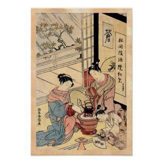Cool vintage ukiyo-e japanese ladies and child poster
