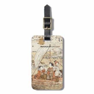 Cool vintage ukiyo-e japanese three woman boat bag tags