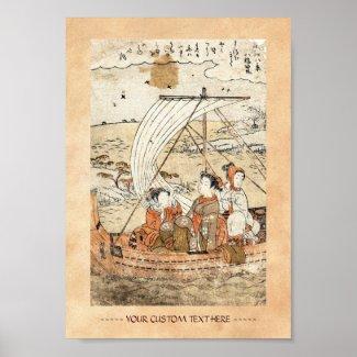 Cool vintage ukiyo-e japanese three woman boat print