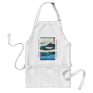 Cool vintage ukiyo-e japanese waterscape mountain adult apron