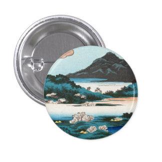 Cool vintage ukiyo-e japanese waterscape mountain pinback button