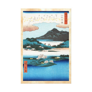 Cool vintage ukiyo-e japanese waterscape mountain stretched canvas prints