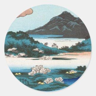 Cool vintage ukiyo-e japanese waterscape mountain classic round sticker