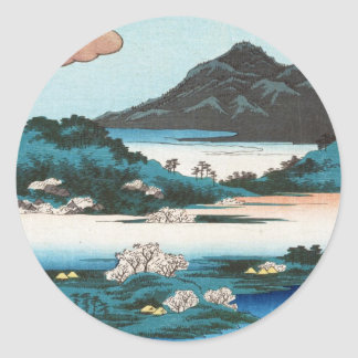 Cool vintage ukiyo-e japanese waterscape mountain classic round sticker