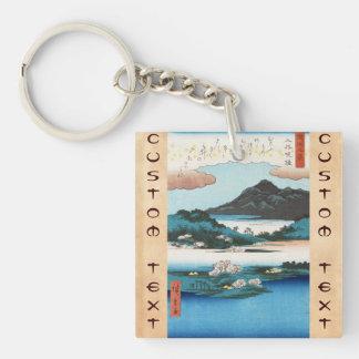 Cool vintage ukiyo-e japanese waterscape mountain keychain