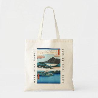 Cool vintage ukiyo-e japanese waterscape mountain tote bag