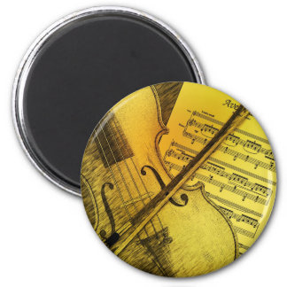 Cool Vintage Violen and Music Sheet 2 Inch Round Magnet
