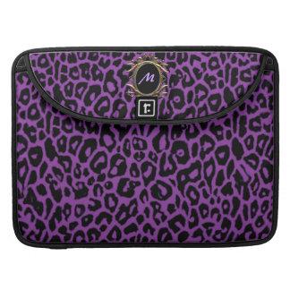 Cool Violet Purple Leopard Monogram Sleeve Sleeve For MacBook Pro