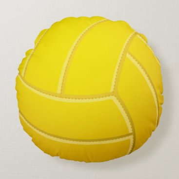 Beach Themed Cool Volleyball Beach Volleyball (Yellow Color) Round Pillow