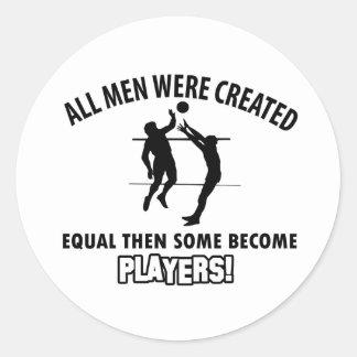 cool volleyball player design classic round sticker