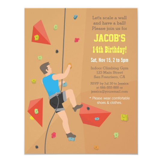 Cool Wall Rock Climbing Birthday Party Invitations Zazzle Com