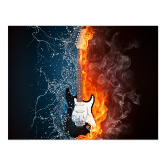 Cool Water and Fire Guitar Design Postcard