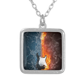 Cool Water and Fire Guitar Design Silver Plated Necklace