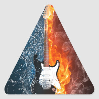 Cool Water and Fire Guitar Design Triangle Sticker