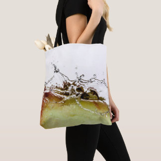 Cool water drop splash on apple tote bag