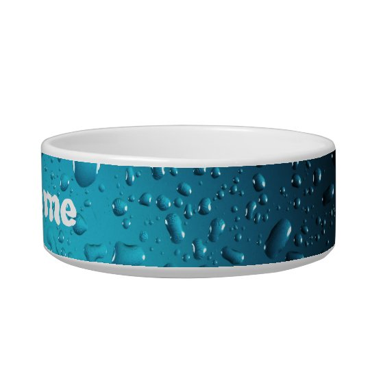 Cool water drops blue pet bowl