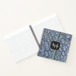 Cool water drops dew texture leaf Monogram Notebook