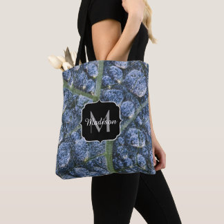 Cool water drops dew texture leaf Monogram Tote Bag
