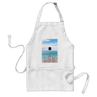 Cool water filled bottle and glasses adult apron