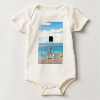 Cool water filled bottle and glasses bodysuit