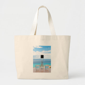 Cool water filled bottle and glasses large tote bag