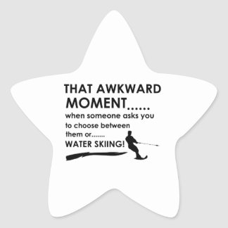Cool water skiing  designs star sticker