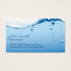 Cool Water Surface Swim Instructor Business Card at Zazzle