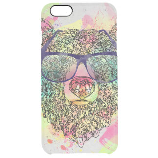 Cool watercolor bear with glasses design clear iPhone 6 plus case