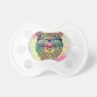 Cool watercolor bear with glasses design pacifier