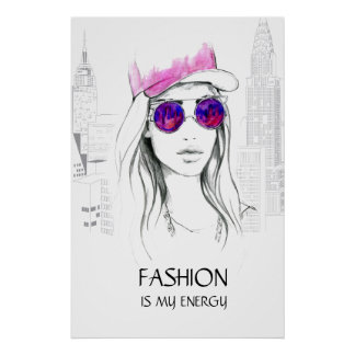 Cool watercolor hand drawn woman  illustration poster