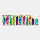 Cool watercolor neon splatters tribal feathers car bumper sticker