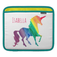 Cool Watercolor Rainbow Unicorn Kids Beautiful Sleeve For Ipads at Zazzle
