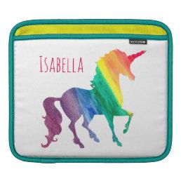 Cool Watercolor Rainbow Unicorn Kids Beautiful Sleeve For iPads