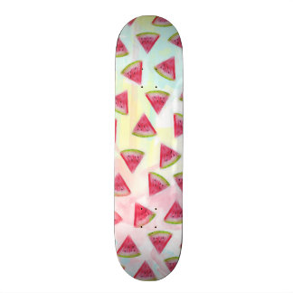 Cool watercolor watermelon slices illustration skateboard deck