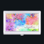 """Cool watercolors peacock feathers abstract pattern business card holder<br><div class=""""desc"""">Cool watercolors peacock feathers abstract splatters paint pattern. Beautiful, art, brush strokes, monogram, custom, feather, birds, fly, animal, wild, splatters, pink, blue, green, orange, purple, yellow, white, grey, neon, bright, vivid colors, dye, girly, feminine, adorable, trendy, art, design, illustration, unique, pretty, Boho chic, artistic, whimsical, awesome, dreamy, positive, design, spiritual,...</div>"""