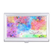 Cool watercolors peacock feathers abstract pattern business card holder