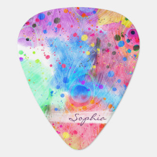 Cool watercolors peacock feathers abstract pattern guitar pick