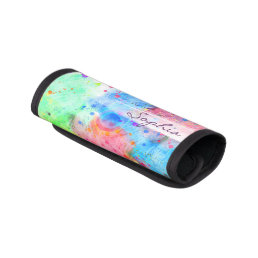 Cool watercolors peacock feathers abstract pattern luggage handle wrap